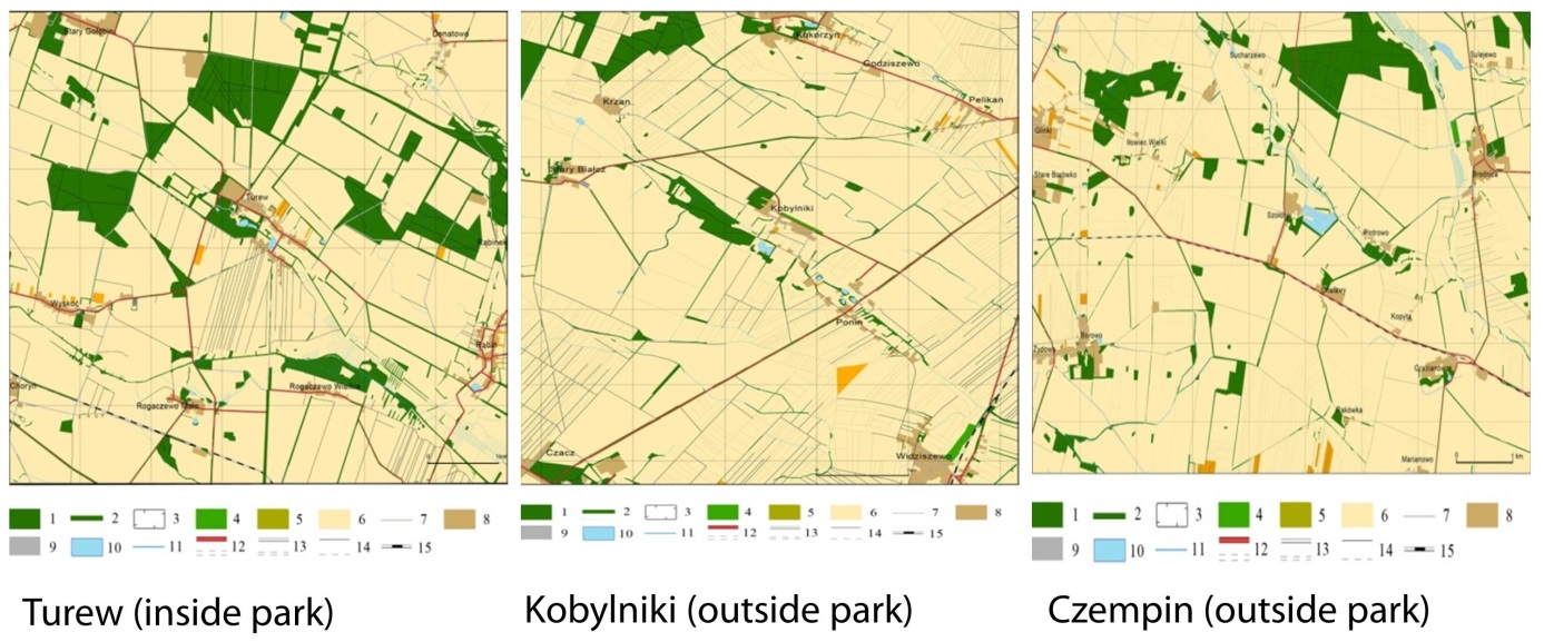 Landscape structure and elements in Chlapowski Landscape Park and adjacent regions (Source: own study P. Wolski).